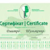 Шульженко Дмитрий: сертификат фото 1